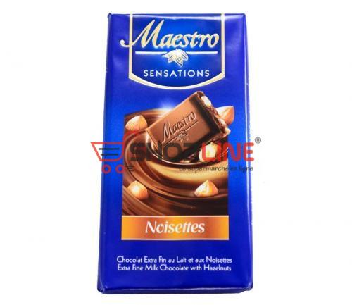 Chocolat au lait et noisettes Maestro Tablette de 90g