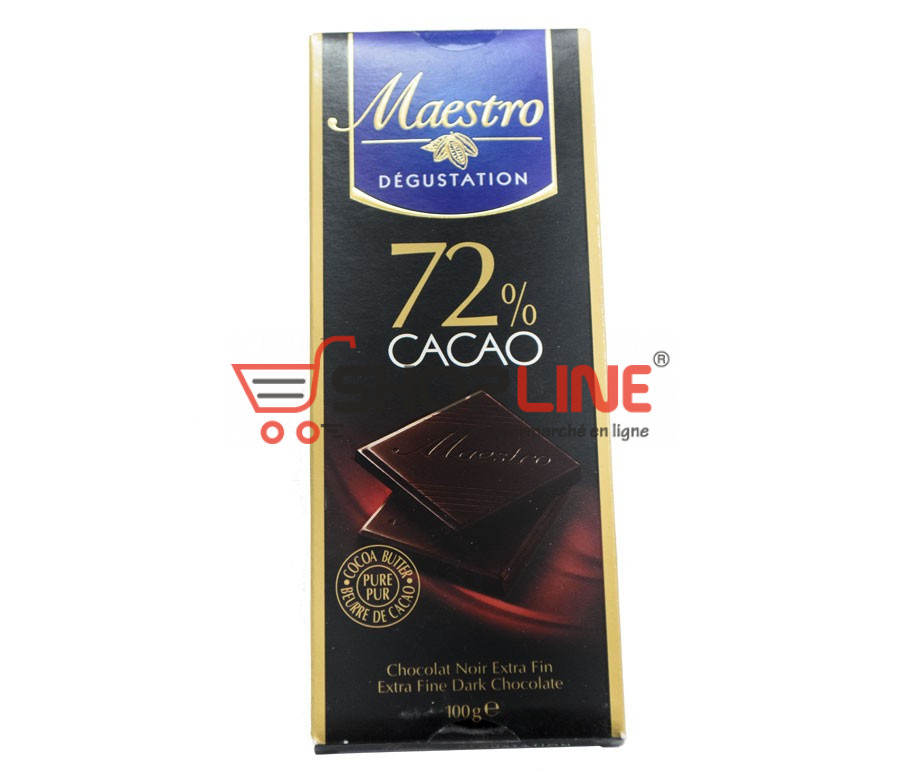 Chocolat Noir Extra Fin Maestro Dégustation 72% cacao Tablette de 100g