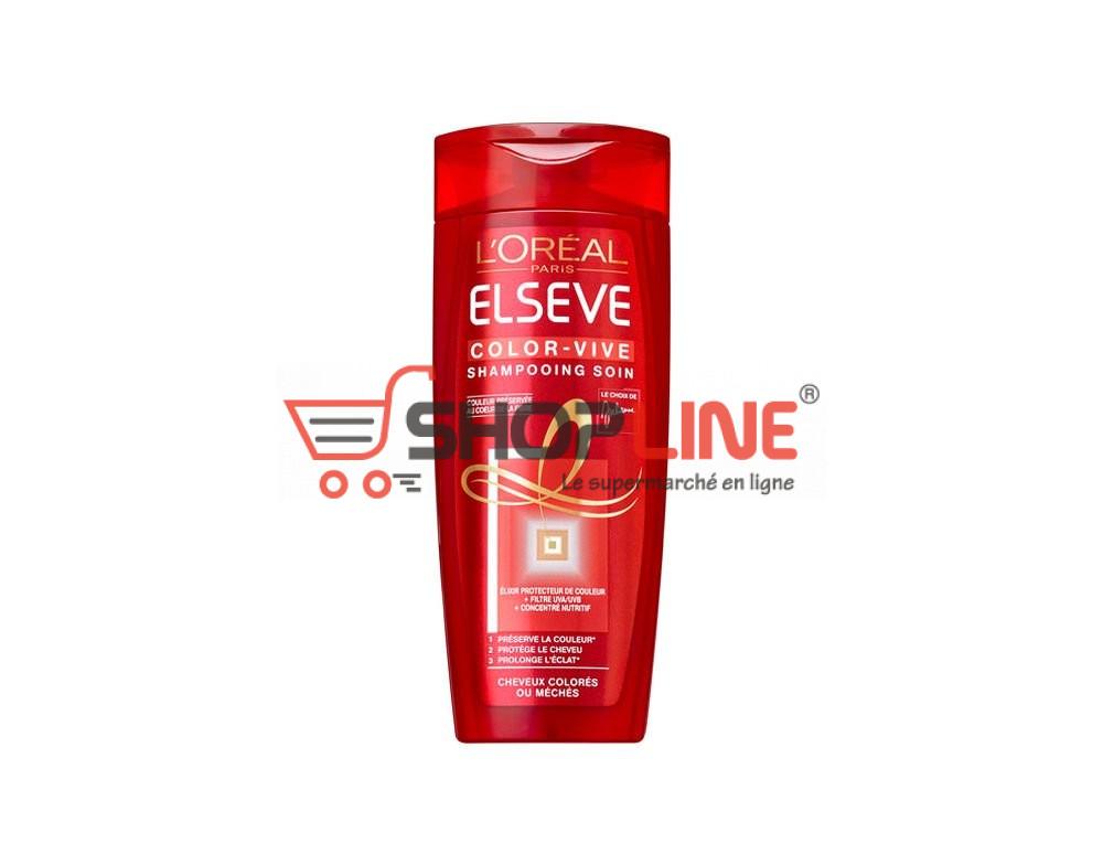 Shampoing Color-Vive Elsève l'Oréal Concentré nutritif+filtres UVA/UVB pour cheveux colorés ou méchés 250ml