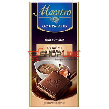 Chocolat Noir Extra fin fourrée au Gianduja Maestro Gourmand 100g